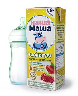 Биойогурт питьевой для питания детей раннего возраста с 8-ми месяцев, со вкусом малина - шиповник