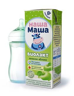 Биолакт - биопродукт кисломолочный, с зеленым яблоком, для питания детей раннего возраста с 8-ми месяцев