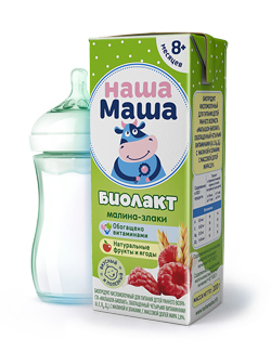 Биолакт - биопродукт кисломолочный, с малиной и злаками, для питания детей раннего возраста с 8-ми месяцев