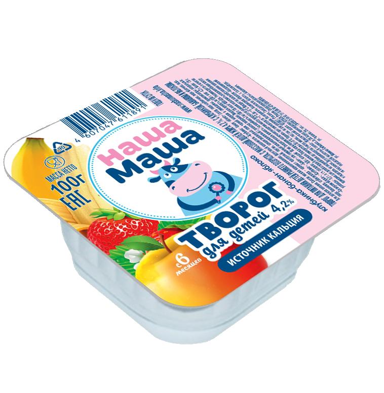 Творог для питания детей раннего возраста с 6-ти месяцев, со вкусом клубники, банана и яблока